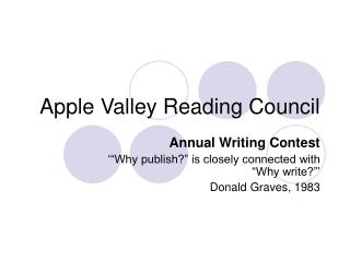 Apple Valley Reading Council