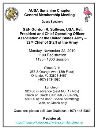 Guest Speaker:  GEN Gordon R. Sullivan, USA, Ret.           President and Chief Operating Officer