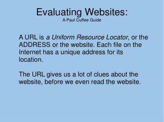 Evaluating Websites: A Paul Cuffee Guide