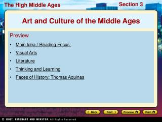Preview Main Idea / Reading Focus  Visual Arts Literature Thinking and Learning Faces of History: Thomas Aquinas