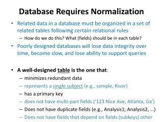 Database Requires Normalization