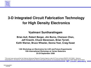 3-D Integrated Circuit Fabrication Technology  for High Density Electronics
