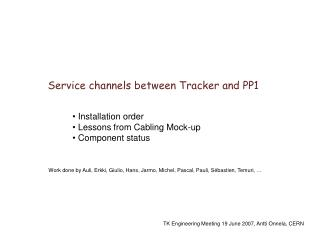 Service channels between Tracker and PP1
