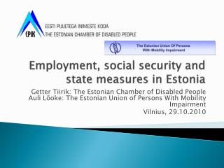 Employment, social security and state measures in Estonia