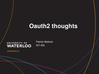 Oauth2 thoughts