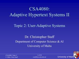 CSA4080: Adaptive Hypertext Systems II