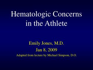 Hematologic Concerns in the Athlete