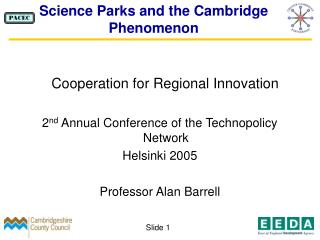 Science Parks and the Cambridge Phenomenon