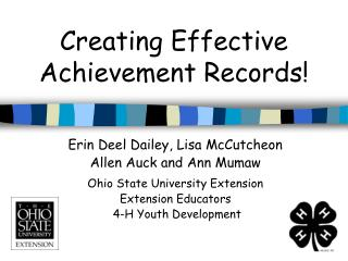 Creating Effective Achievement Records!