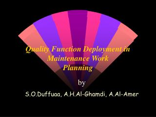 Quality Function Deployment in  Maintenance Work Planning