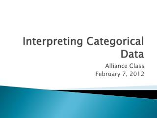 Interpreting Categorical Data