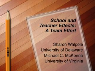 School and  Teacher Effects: A Team Effort