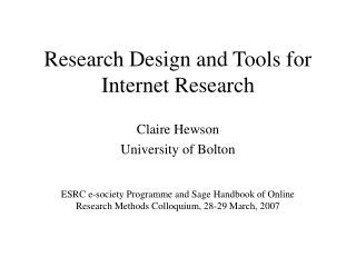 Research Design and Tools for Internet Research
