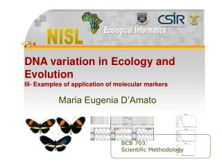 DNA variation in Ecology and Evolution III- Examples of application of molecular markers