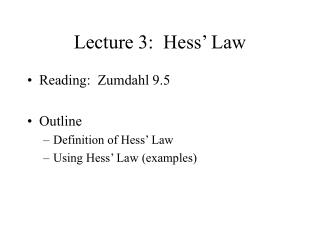 Lecture 3: Hess' Law