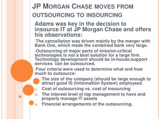 JP Morgan Chase moves from outsourcing to  insourcing