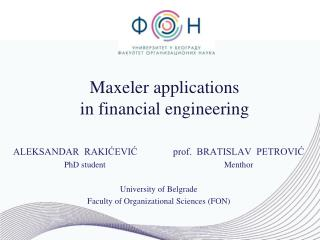 Maxeler applications  in  financial engineering