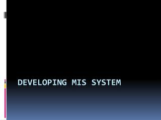 Developing MIS System
