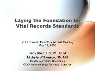 Laying the Foundation for Vital Records Standards