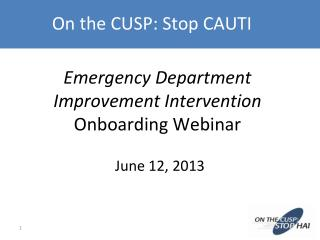 Emergency Department Improvement Intervention  Onboarding Webinar