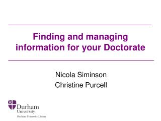 Finding and managing information for your Doctorate