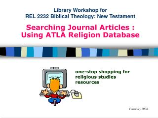 Library Workshop for  REL 2232 Biblical Theology: New Testament