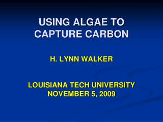 USING ALGAE TO          CAPTURE CARBON