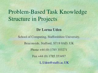 Problem-Based Task Knowledge Structure in Projects