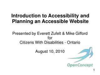Introduction to Accessibility and Planning an Accessible Website