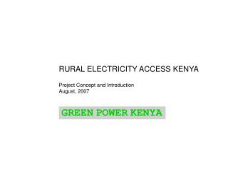 RURAL ELECTRICITY ACCESS KENYA