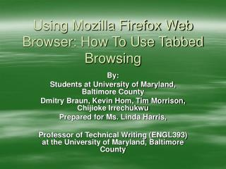 Using Mozilla Firefox Web Browser: How To Use Tabbed Browsing