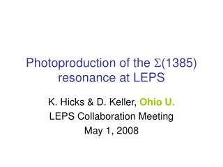 Photoproduction of the  S (1385) resonance at LEPS