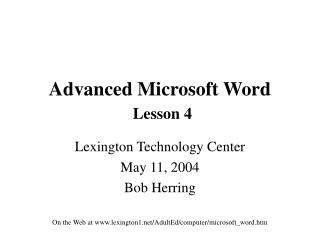 Advanced Microsoft Word Lesson 4