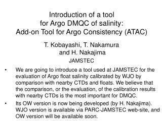 Introduction of a tool  for Argo DMQC of salinity: Add-on Tool for Argo Consistency (ATAC)
