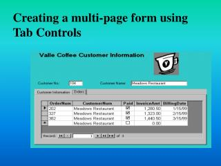 Creating a multi-page form using Tab Controls