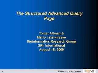The Structured Advanced Query Page