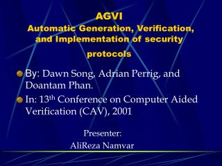 AGVI  Automatic Generation, Verification, and Implementation of security protocols
