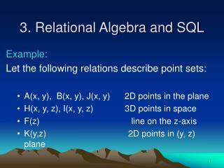 3. Relational Algebra and SQL