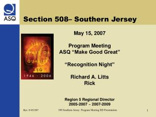 Section 508– Southern Jersey