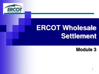 ERCOT Wholesale  Settlement