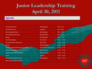 Junior Leadership Training April 30, 2011