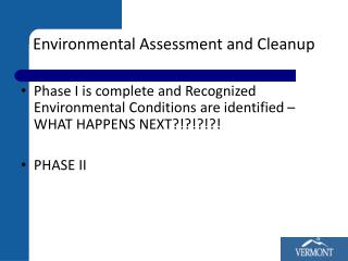 Environmental Assessment and Cleanup