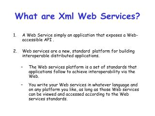 What are Xml Web Services?