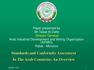 Standards and Conformity Assessment In The Arab Countries: An Overview