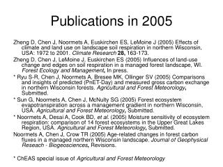 Publications in 2005
