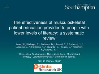 Background: Musculoskeletal health and health literacy