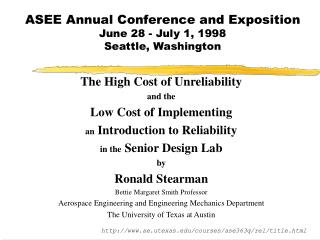 ASEE Annual Conference and Exposition June 28 - July 1, 1998 Seattle, Washington