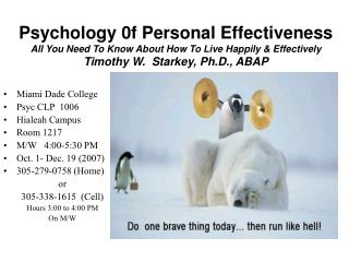 Psychology 0f Personal Effectiveness All You Need To Know About How To Live Happily & Effectively Timothy W.  Starke