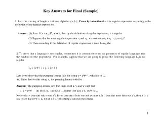Key Answers for Final (Sample)