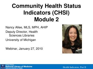 Community Health Status Indicators (CHSI) Module 2